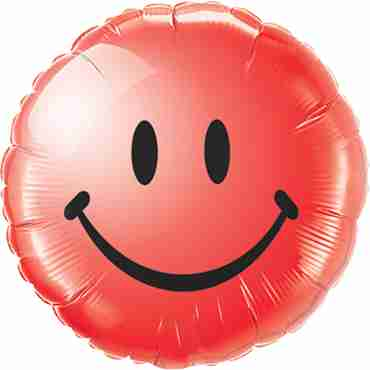 Smiley Face Red Foil Round 18in/45cm