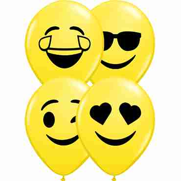 Smiley Faces Assortment Standard Yellow Latex Round 5in/12.5cm