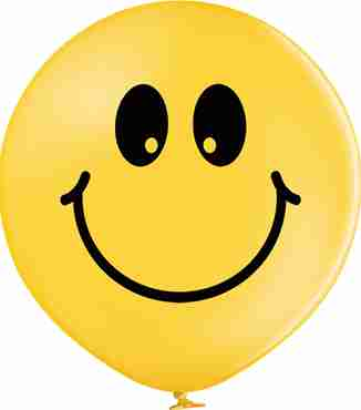 Smiley Pastel Bright Yellow Latex Round 24in/60cm