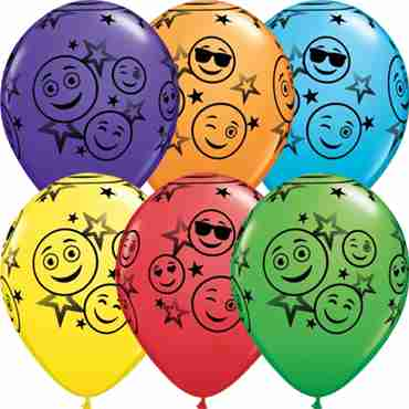 Smiley Stars Bright Rainbow Assortment Latex Round 11in/27.5cm
