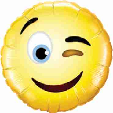 Smiley Wink Foil Round 9in/22.5cm