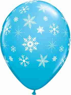Snowflakes and Sparkles Fashion Robins Egg Blue Latex Round 11in/27.5cm