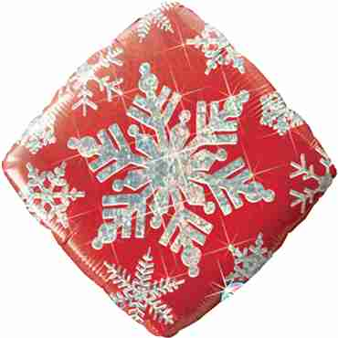 Snowflakes Sparkles Red Holographic Foil Diamond 18in/45cm