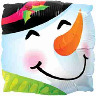 snowman fun face foil square 9in/22.5cm