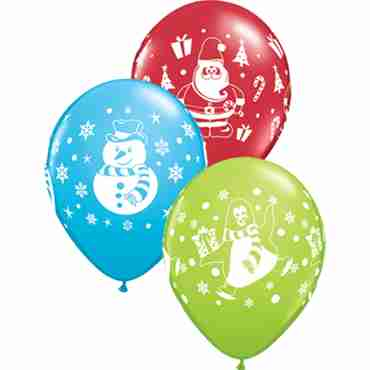 Snowmen, Penguins and Santa Assortment Standard Red, Fashion Robins Egg Blue and Fashion Lime Green Assortment Latex Round 11in/27.5cm