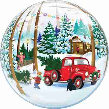 Snowscape and Antique Truck Single Bubble 22in/55cm