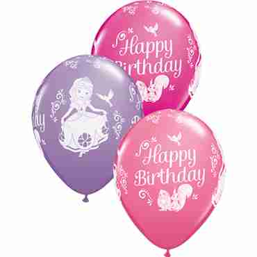 sofia birthday fashion wild berry, fashion spring lilac and standard pink assortment latex round 11in/27.5cm