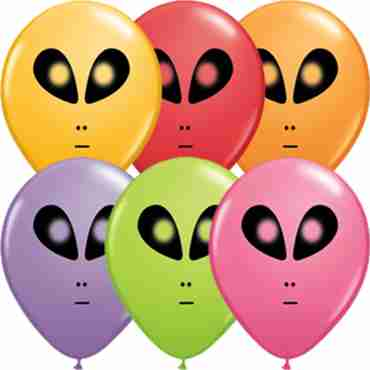 Space Alien Festive Assortment Latex Round 5in/12.5cm