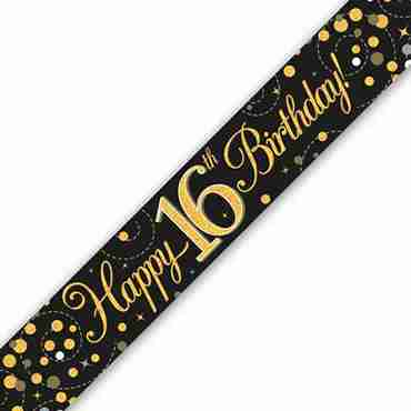Sparkling Fizz 16 Black and Gold Holographic Banner 2.7m