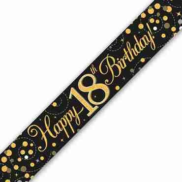 Sparkling Fizz 18 Black and Gold Holographic Banner 2.7m