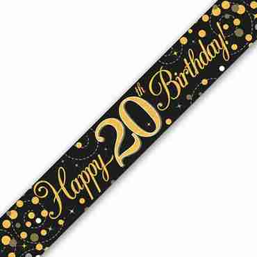 Sparkling Fizz 20 Black and Gold Holographic Banner 2.7m