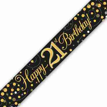 Sparkling Fizz 21 Black and Gold Holographic Banner 2.7m