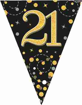 Sparkling Fizz 21 Black and Gold Holographic Bunting 3.9m