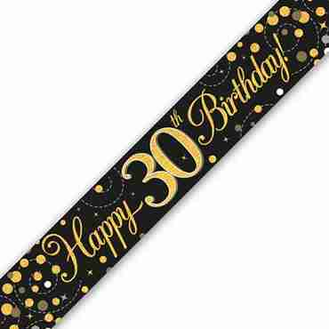 Sparkling Fizz 30 Black and Gold Holographic Banner 2.7m