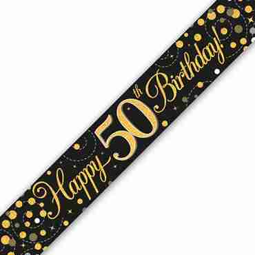 Sparkling Fizz 50 Black and Gold Holographic Banner 2.7m