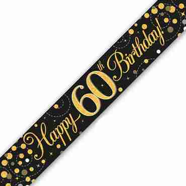 Sparkling Fizz 60 Black and Gold Holographic Banner 2.7m