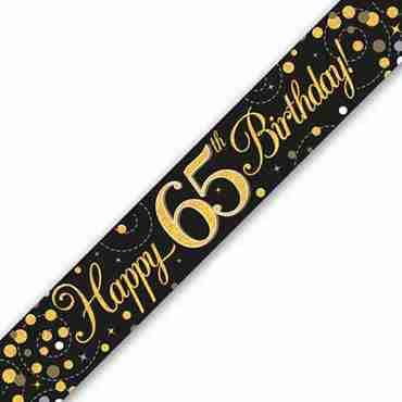 Sparkling Fizz 65 Black and Gold Holographic Banner 2.7m
