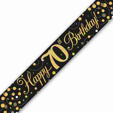 Sparkling Fizz 70 Black and Gold Holographic Banner 2.7m