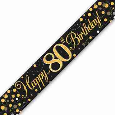 Sparkling Fizz 80 Black and Gold Holographic Banner 2.7m