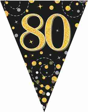 Sparkling Fizz 80 Black and Gold Holographic Bunting 3.9m