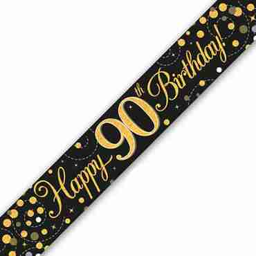 Sparkling Fizz 90 Black and Gold Holographic Banner 2.7m