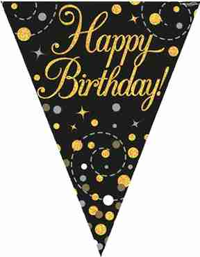 Sparkling Fizz Birthday Black and Gold Holographic Bunting 3.9m