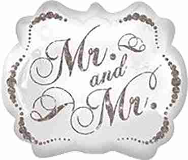 sparkling mr and mr foil shape 25in/63cm x 22in/55cm