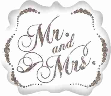 sparkling mr and mrs foil shape 25in/63cm x 22in/55cm