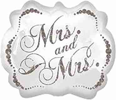 sparkling mrs and mrs foil shape 25in/63cm x 22in/55cm