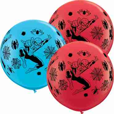 Spider-Man Standard Red and Fashion Robins Egg Blue Assortment Latex Round 36in/90cm