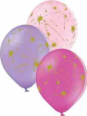 Splatters Pastel Pink, Pastel Lavender and Pastel Rose Assortment Latex Round 12in/30cm