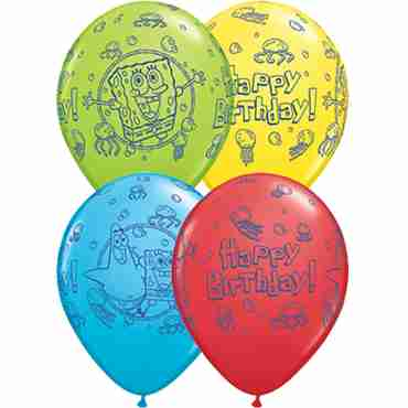 Spongebob Birthday Standard Red, Standard Yellow, Fashion Robins Egg Blue and Fashion Lime Green Assortment Latex Round 11in/27.5cm