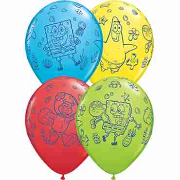 spongebob standard red, standard yellow, fashion robins egg blue and fashion lime green assortment latex round 11in/27.5cm