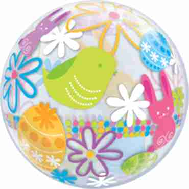 Spring Bunnies and Flowers Single Bubble 22in/55cm