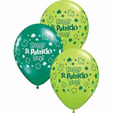 St Patrick's Day Fashion Lime Green and Crystal Emerald Green (Transparent) Assortment Latex Round 11in/27.5cm