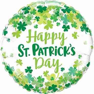 St. Patrick's Shamrock Confetti Foil Round 18in/45cm