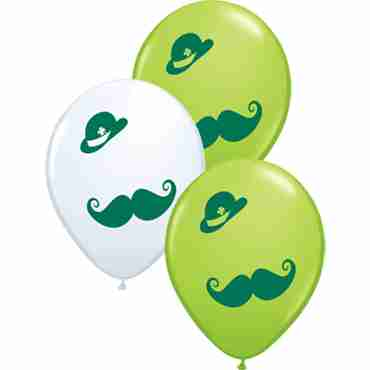 St Pat's Derby and Mustache Standard White and Fashion Lime Green Assortment Latex Round 11in/27.5cm