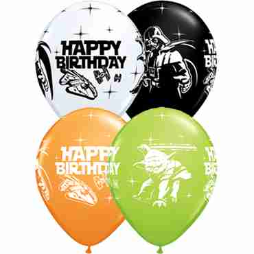 Star Wars Birthday Standard Orange, Standard White, Fashion Onyx Black and Fashion Lime Green Assortment Latex Round 11in/27.5cm