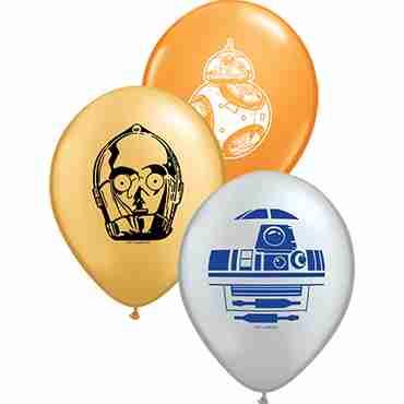 Star Wars Droids Assortment Standard Orange, Metallic Silver and Metallic Gold Latex Round 5in/12.5cm