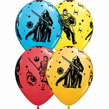 star wars the force awakens standard red, standard yellow, fashion robins egg blue and fashion goldenrod assortment latex round 11in/27.5cm