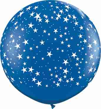 stars crystal sapphire blue (transparent) latex round 36in/90cm