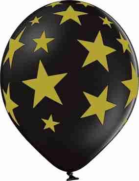Stars Pastel Black Latex Round 12in/30cm