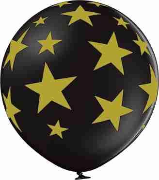 Stars Pastel Black Latex Round 24in/60cm