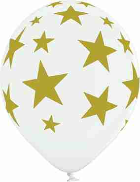 Stars Pastel White Latex Round 12in/30cm
