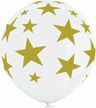 Stars Pastel White Latex Round 24in/60cm