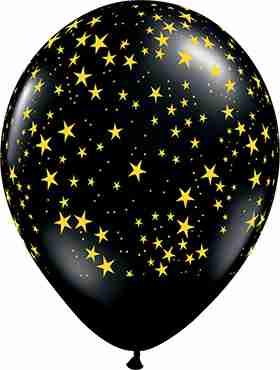 Stars w/Gold Ink Fashion Onyx Black Latex Round 11in/27.5cm