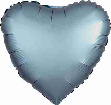 Steel Blue Satin Luxe Foil Heart 17in/43cm