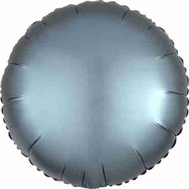 Steel Blue Satin Luxe Foil Round 17in/43cm