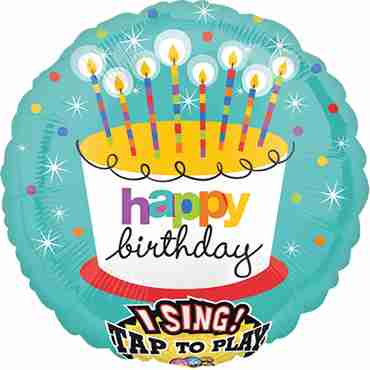 Striped Birthday Candles Sing A Tune Foil Round 28in/71cm