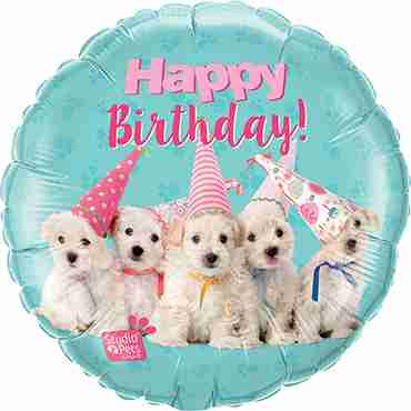 Studio Pets - Birthday Puppies Foil Round 18in/45cm